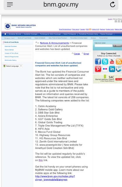 senarai baru alert list bnm