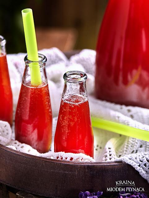 lemoniada z rabarbaru i truskawek, lemoniada rabarbarowa, lemoniada truskawkowa, lemoniada z wodą gazowaną, orzeźwiający napój, lemoniada z miętą, lemoniada z cytryną, kraina miodem płynąca