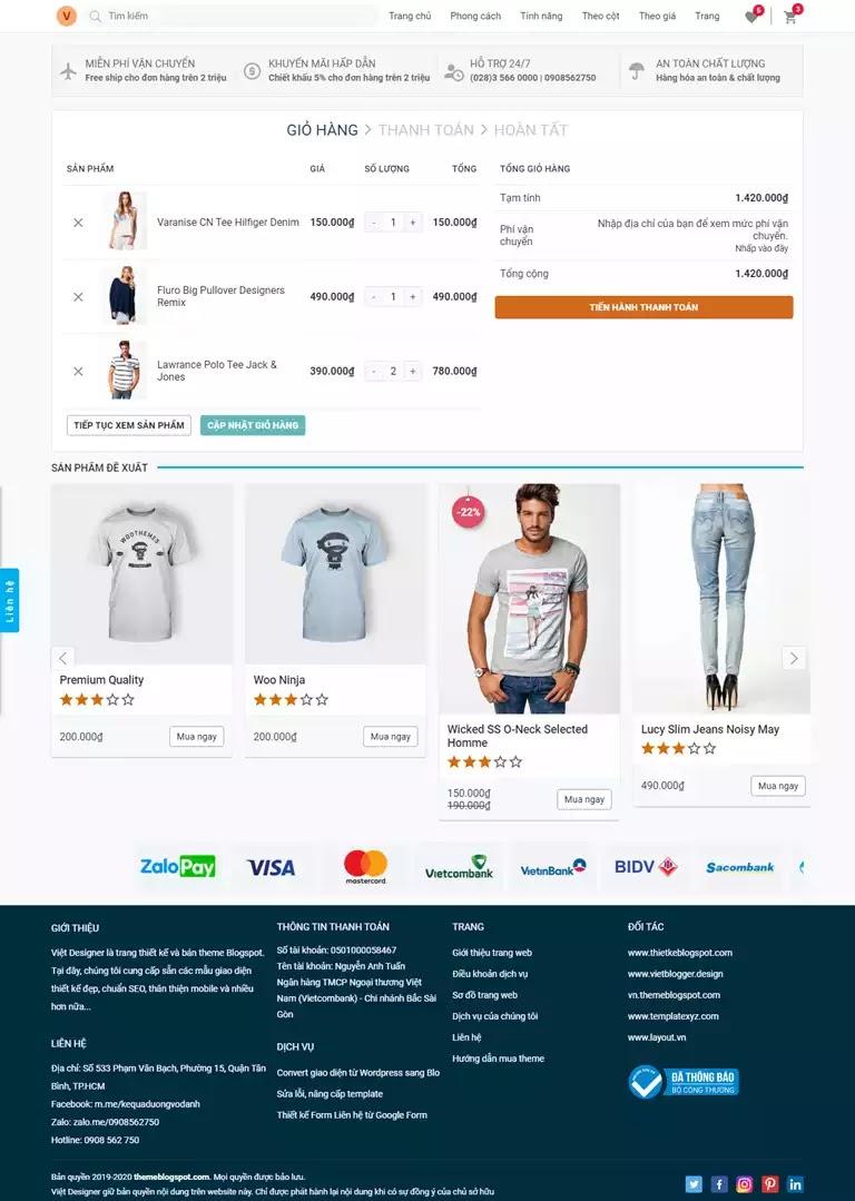 Trang giỏ hàng sản phẩm giao diện website bán hang blogspot