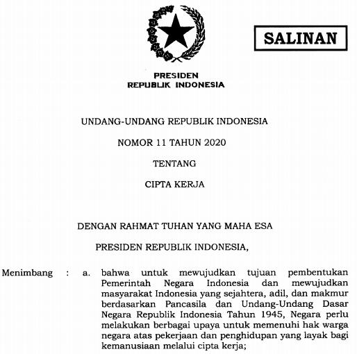 Download Undang-Undang Cipta Kerja (UU No. 11 Tahun 2020 Tentang Cipta Kerja) 1.187 Halaman PDF