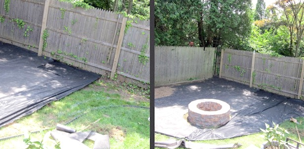 Before and after of corner with landscape fabric