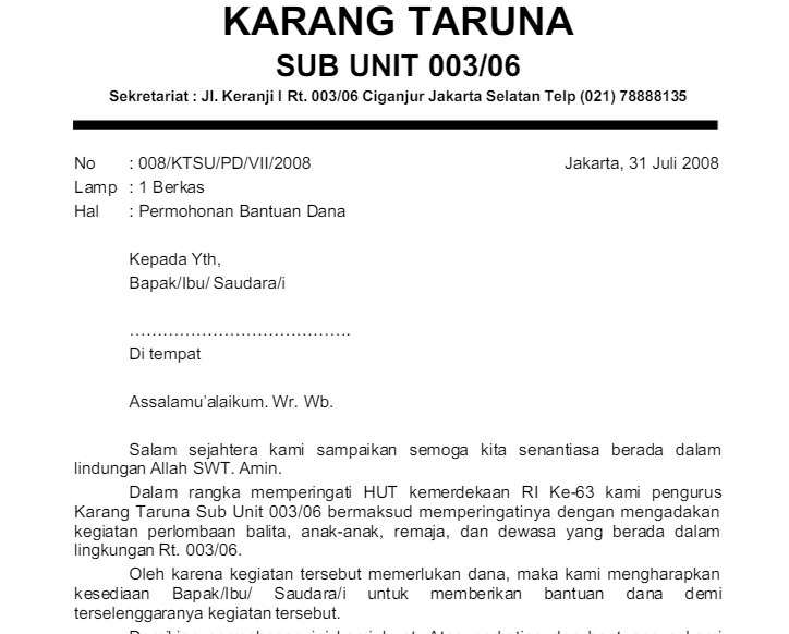 Contoh Proposal 17 Agustus untuk Karang Taruna Tingkat RT ...