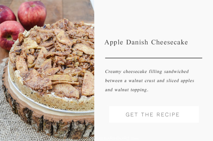 Apple Danish Cheesecake - A traditional cheesecake filling served over a walnut crust and topped with cinnamon, sliced apples, and walnuts