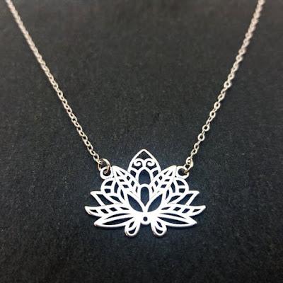 collar flor de loto mandala de plata de ley 925