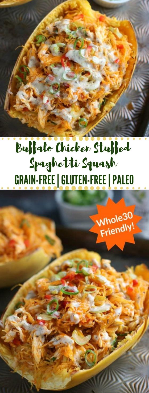 Buffalo Chicken Stuffed Spaghetti Squash #chicken #buffalo #diet #recipe #paleo