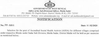 WB Health ASHA Recruitment 2020 Application form Download