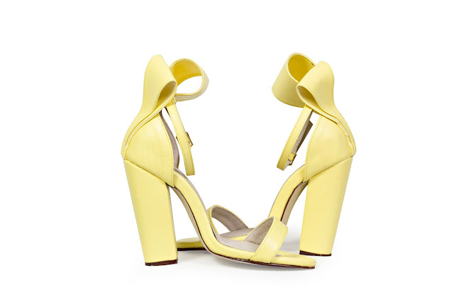 Yellow Block High Heels with origami bow at the back