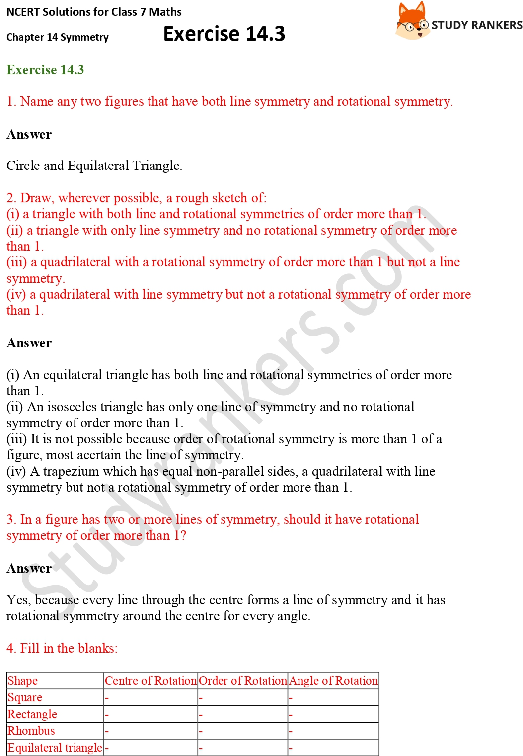 NCERT Solutions for Class 7 Maths Chapter 14 Symmetry Exercise 14.3 Part 1