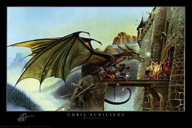 Image: Dragonspell - Fantasy Poster (Dragon Attacking Castle) (Size: 36 x 24) Poster Print by Chris Achilleos