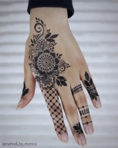 Beautiful-flowers-with-net-mehandi-design