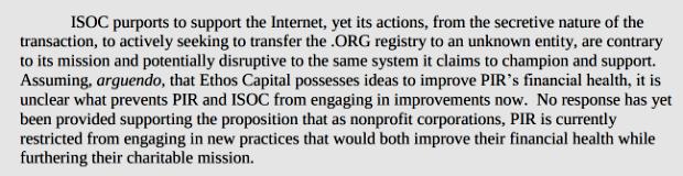 AG Becerra Letter to ICANN re: PIR & .ORG (excerpt)