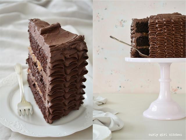 Chocolate Caramel Toffee Cake, Chocolate Cake with Toffee, Chocolate Buttercream, Ruffle Cake, High Altitude Chocolate Cake, Chocolate Toffee Cake
