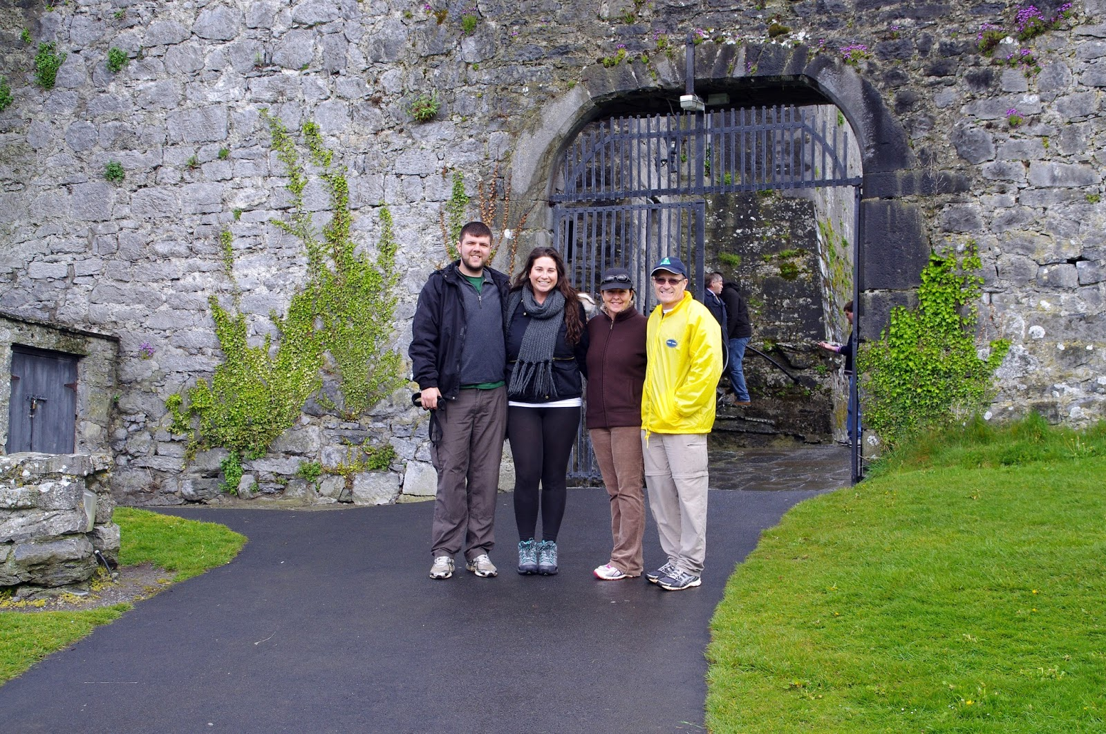 Family standing at front of Dunguaire Castle