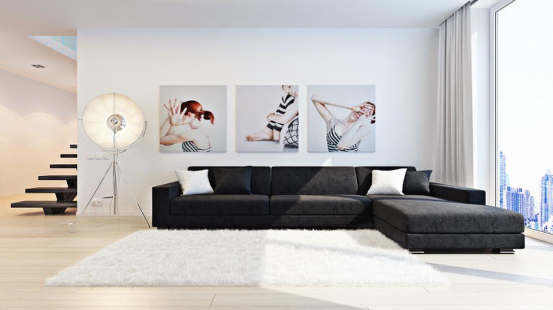 cuadro trptico para sal pequeas o living con espacio reducido aqu los muebles son modernos de color oscuro mientras que las pareces y la obra de arte - Living Moderno