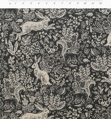 Creates Sew Slow: Cotton+Steel Rifle Paper Co Wildwood Fable print in grey cotton linen canvas