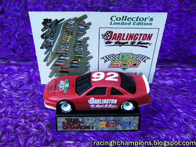 1992 Darlington Track Car #92 Racing Champions 1/64 NASCAR diescast blog