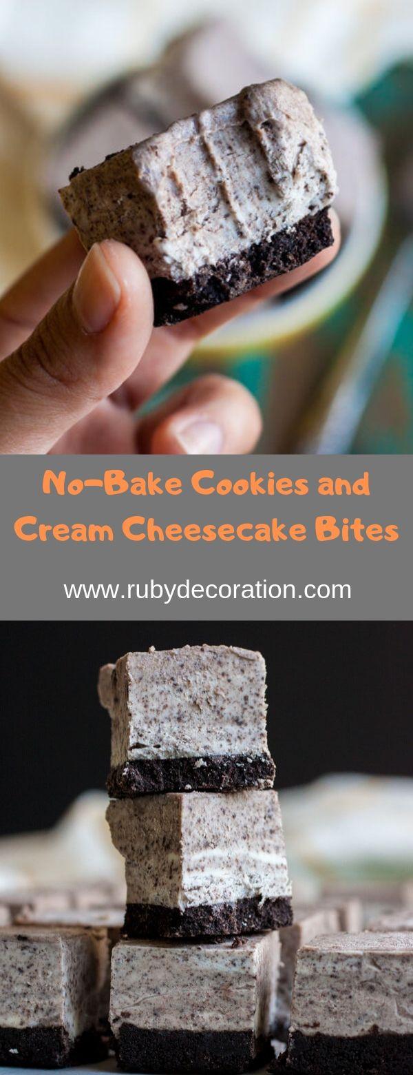 No-Bake Cookies and Cream Cheesecake Bites