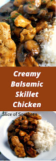 Creamy Balsamic Skillet Chicken:  Golden seared chicken breasts smothered in a creamy balsamic sauce, this is a quick dinner you can get on the table in under 45 minutes. -  Slice of Southern