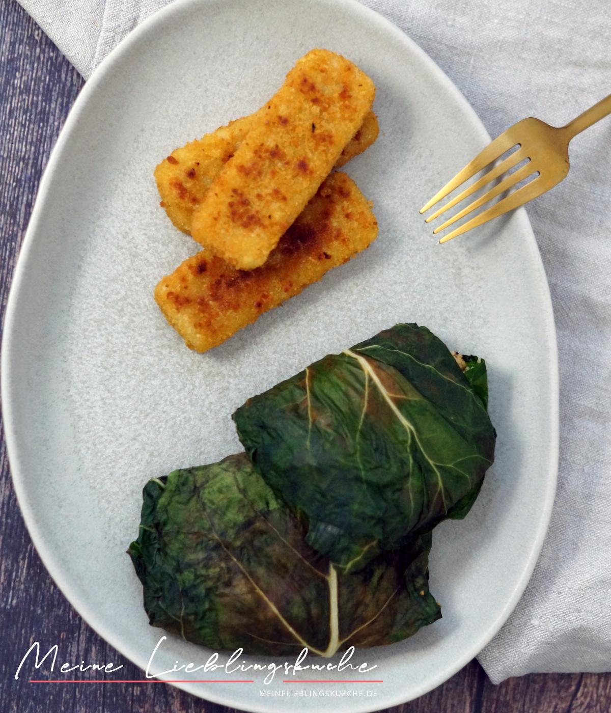 Mangoldtaschen gefüllt mit Couscous