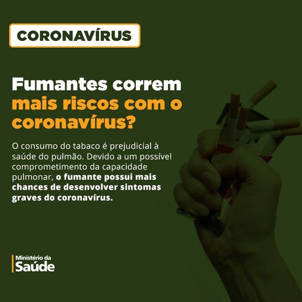 Risco de infecção por coronavírus (covid – 19) é maior em fumantes, alerta INCA