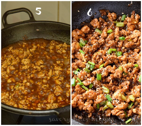a pan cooking ground chicken topped with sesame seeds, spring onion, red pepper flakes