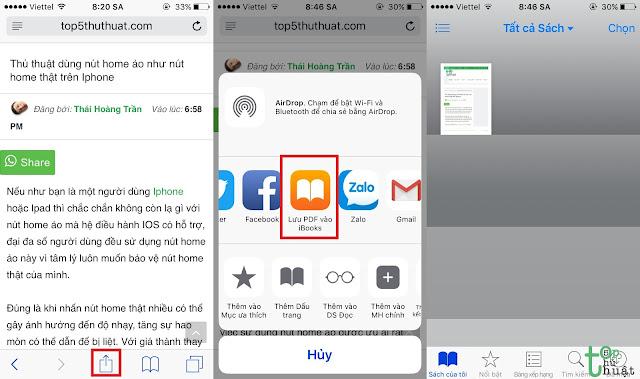 Lưu trang web xuống dạn PDF trên Safari