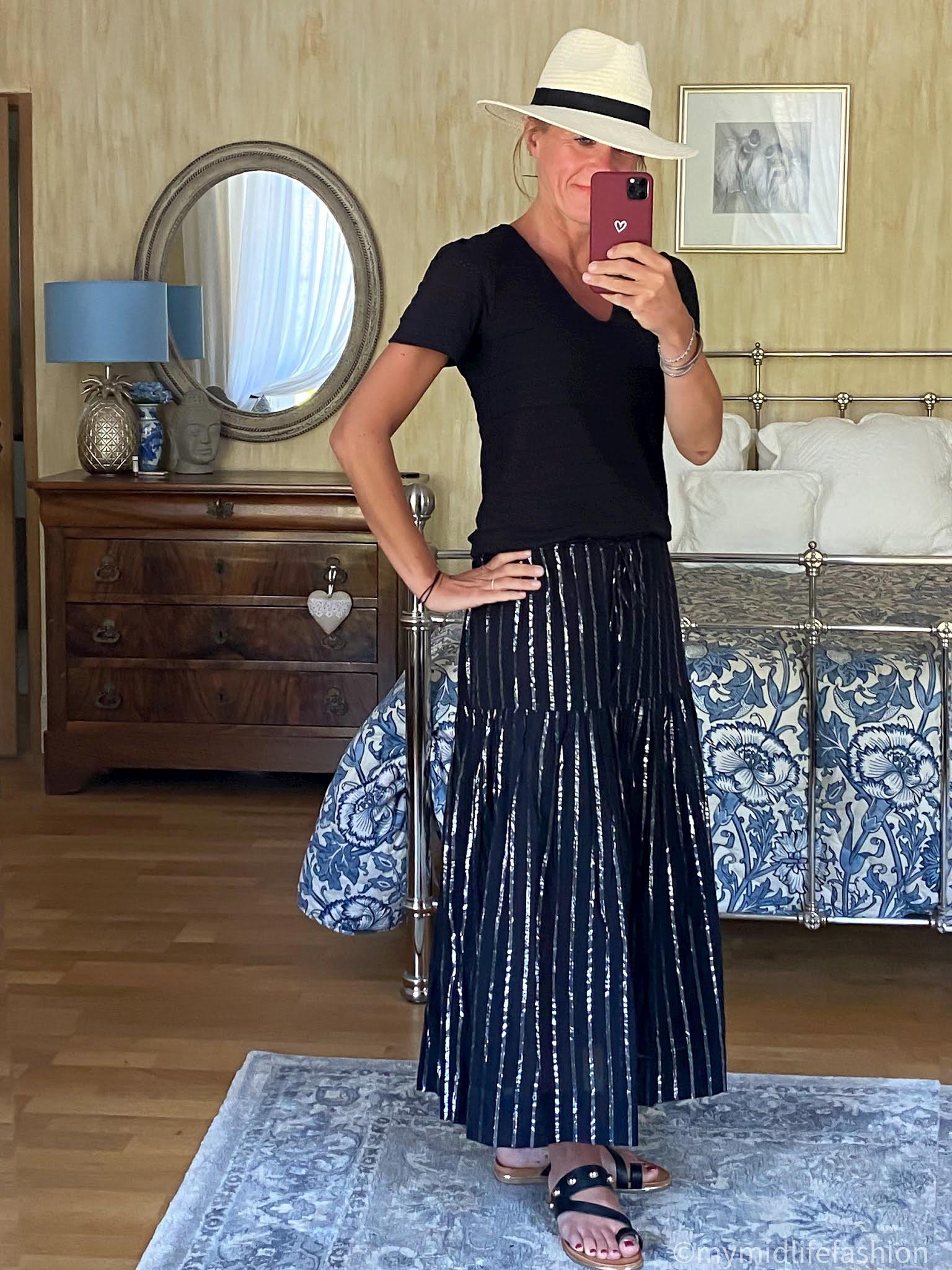 my midlife fashion, Great Plains pointelle stripe t shirt, Carvela karate leather sandals, Isabel Marant Etoile metallic stripe linen skirt, Zara Panama hat
