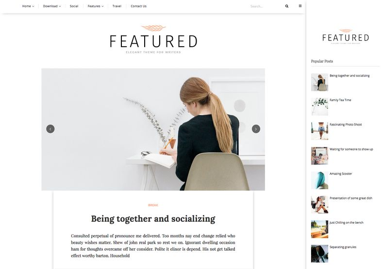 featured personal blogger template oddthemes