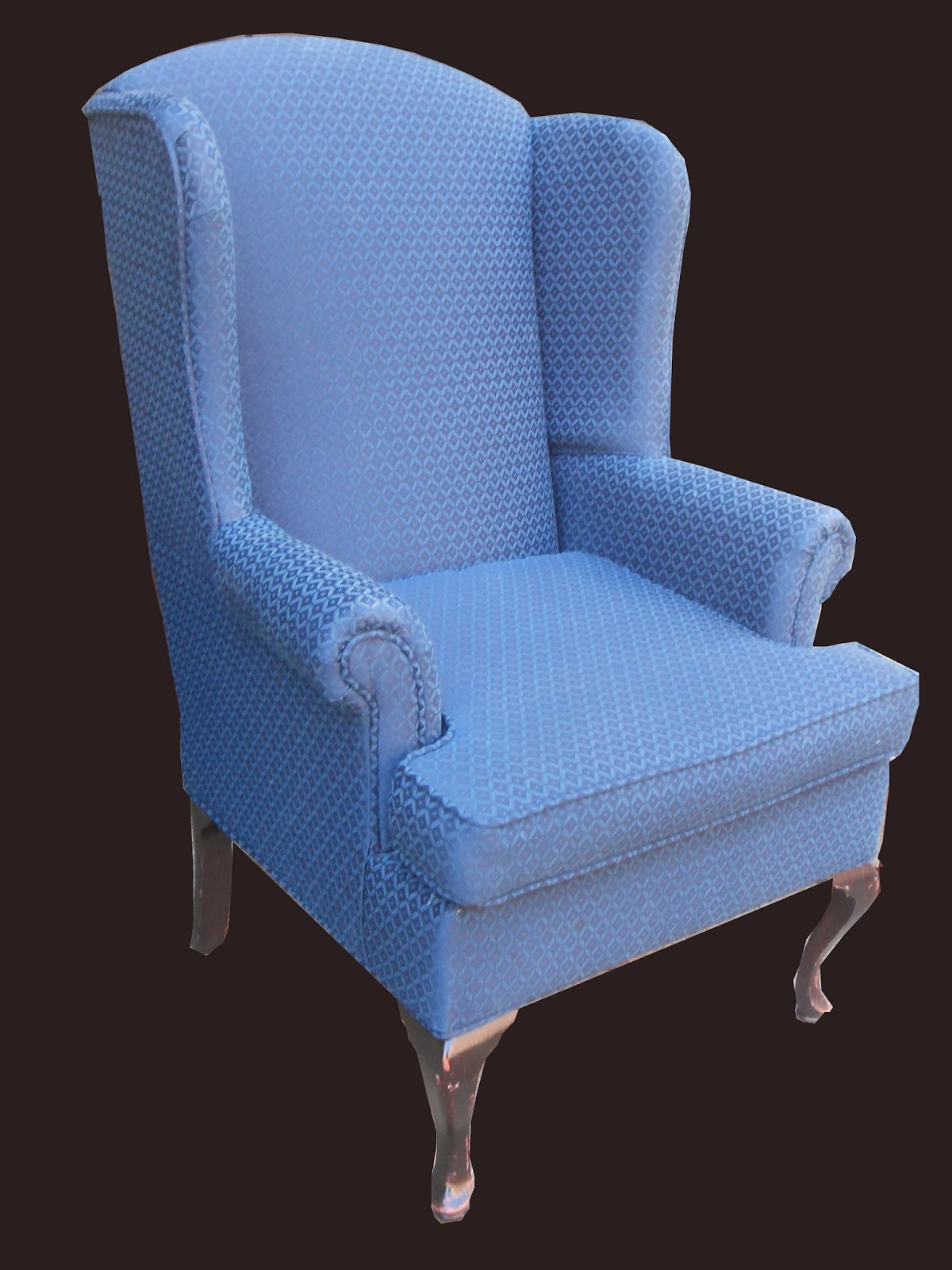 Uhuru Furniture Amp Collectibles Blue Wingback Chair Sold