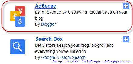 adsense gadget, blogger widgets