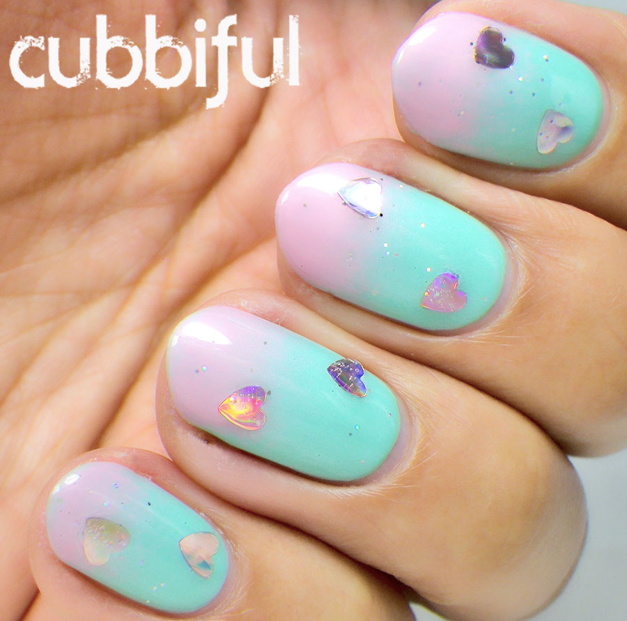 Soft pastel gradient Valentine's Nails