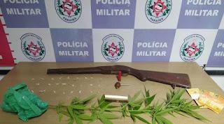 Polícia apreende armas e pés de maconha no bairro de Mandacaru, em JP