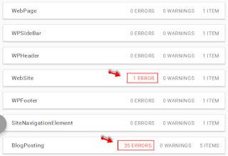 schemar markup error pada struktur data blog