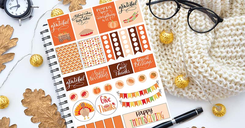 photograph relating to Thanksgiving Planner Printable named Free of charge Printable Thanksgiving Planner Stickers (Satisfies Content