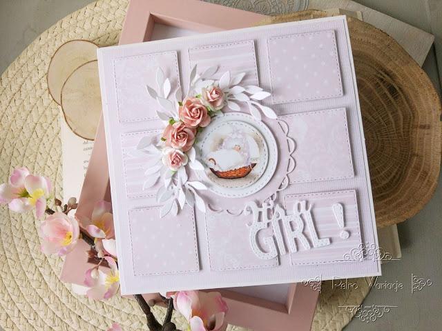 Kartka patchworkowa z okazji narodzin dziewczynki