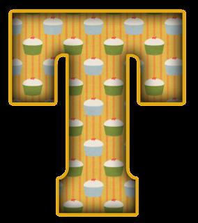Abecedario Amarillo con Cupcakes. Yellow Alphabet with Cupcakes.