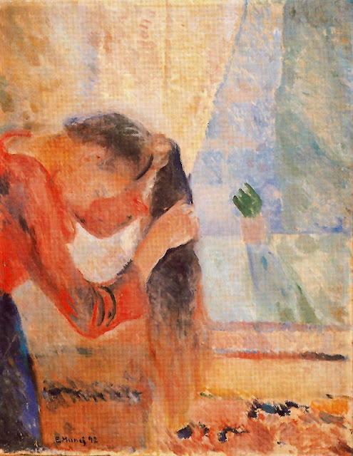 Эдвард Мунк - Девушка причесывает волосы. 1892