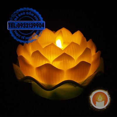 Đèn cầy led hoa sen tim đèn lắc