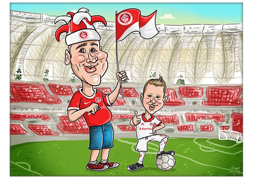 Caricatura Pai e Filho Colorados no Beira-Rio