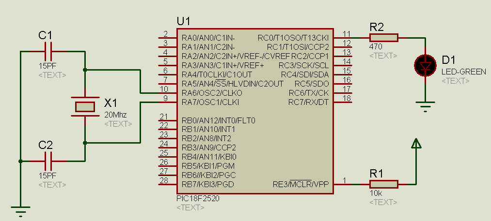 Pic18f1220 Blinking Led Circuit Schematic - Wiring Diagrams User