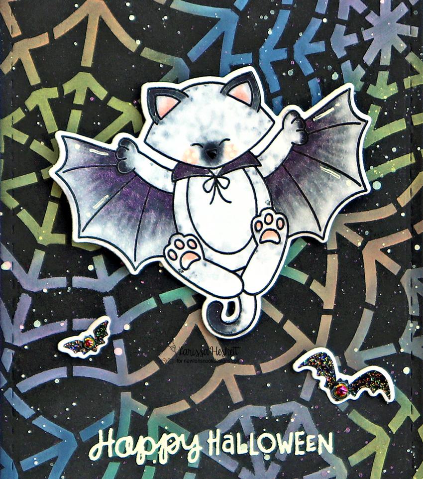 Happy Halloween Card by Larissa Heskett for Newton's Nook Designs using Batty Newton, Spiderweb Stencil, & Frames & Flags #newtonsnook #newtonsnookdesigns #battynewton #spidewebstencil #framesandflags