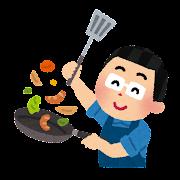 料理をするお父さんのイラスト