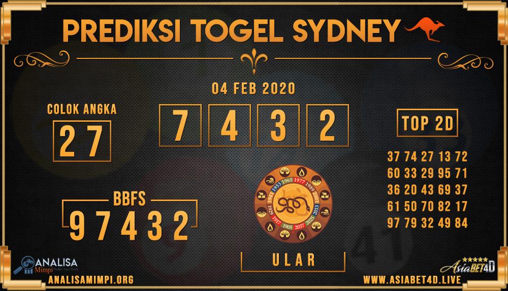 PREDIKSI TOGEL SYDNEY ASIABET4D SELASA 04 FEB 2020