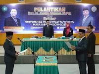 Pelantikan Rektor Baru Universitas Muhammadiyah Metro