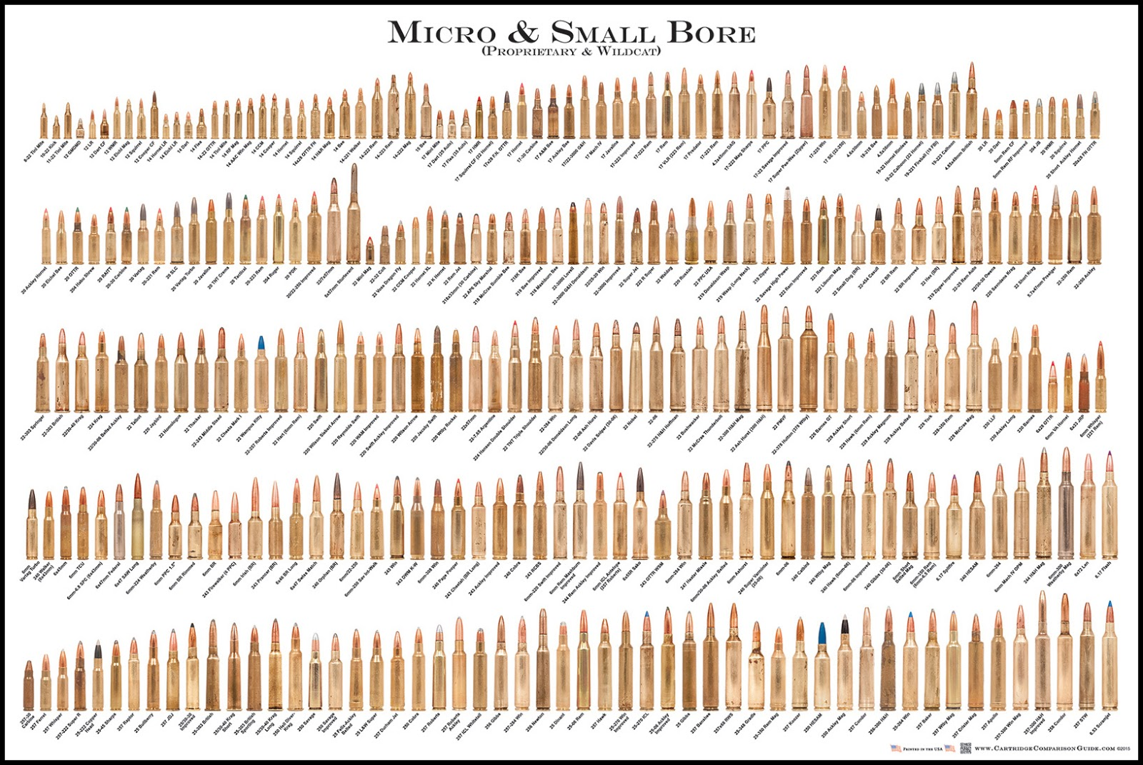 Bore Cartridge Comparison Guide Poster Micro Small Bore