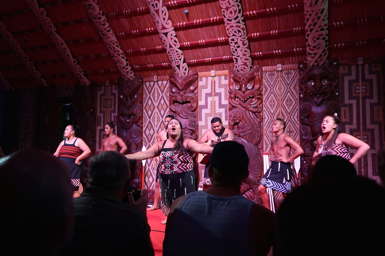 Traditional Maori song and dance at the Waitangi Treaty Grounds, New Zealand