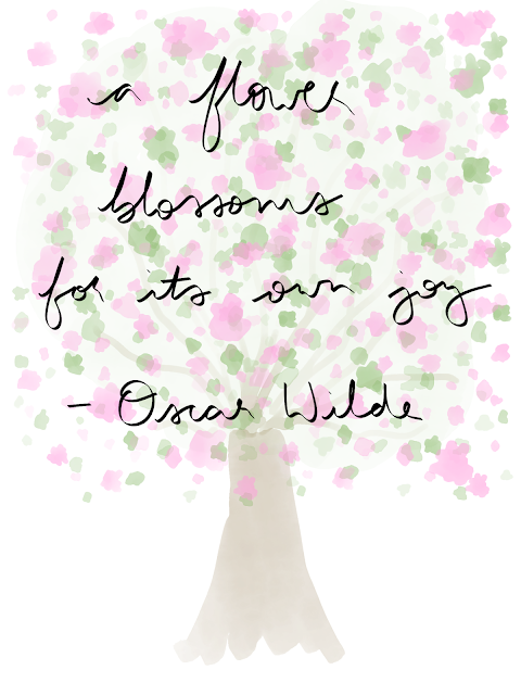 """""""a flower blossoms for its own joy"""" quote on a background of a digital drawing of a blossom tree"""