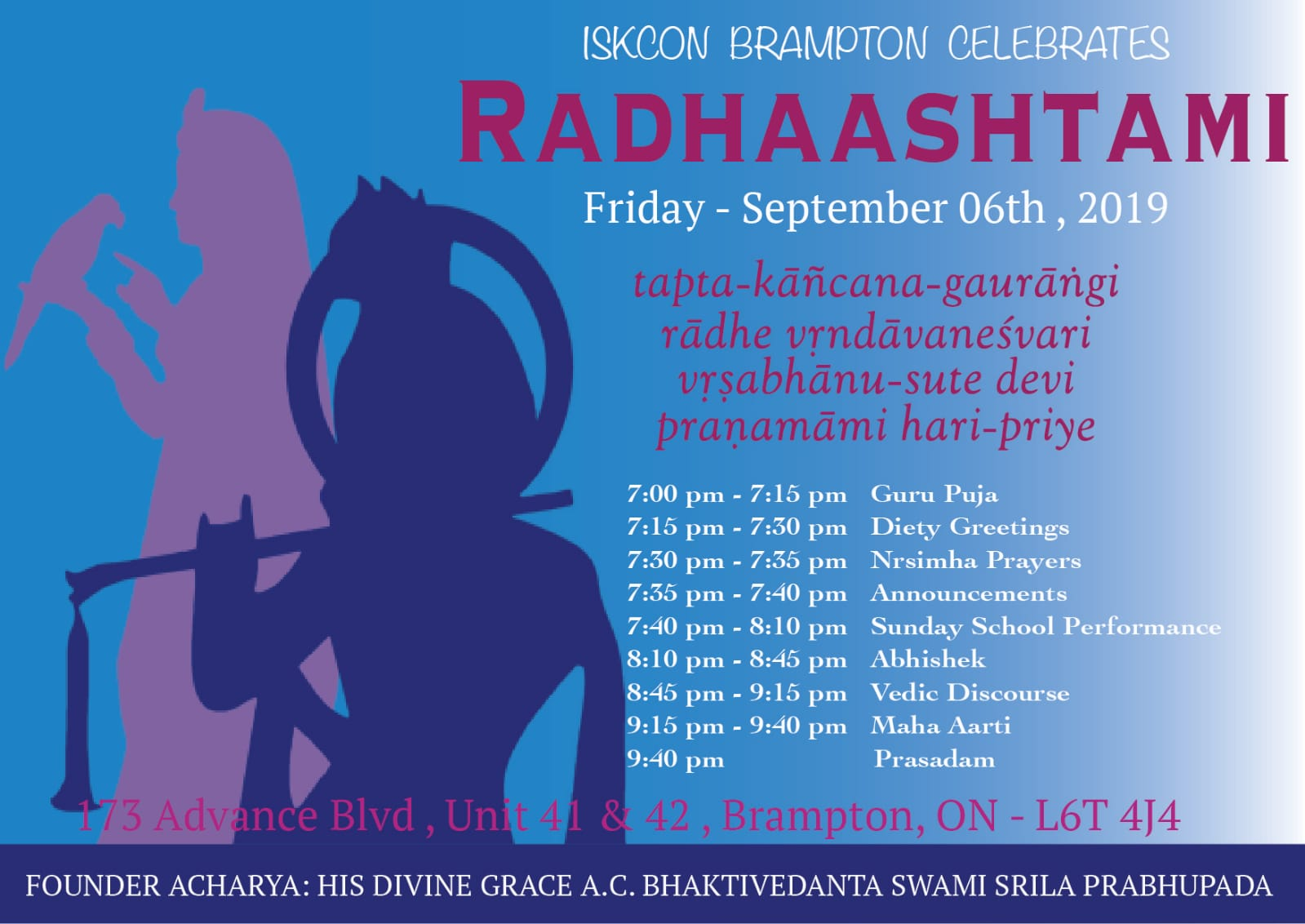 Radhashtami Festival - Special Program - Fri 6th Sep, 2019