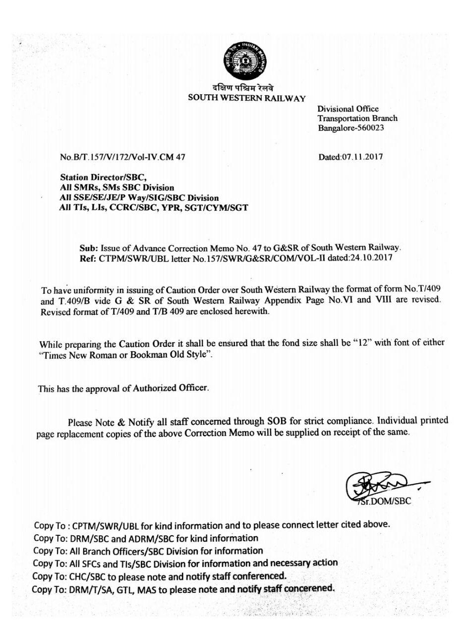 CREW LOBBY KJM: Advance correction No 47 to Grs of SWR