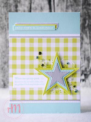 Stampin' Up! rosa Mädchen Kulmbach: Babykarte mit Gut definiert, Alles im Block und Stanzformen Bestickte Sterne